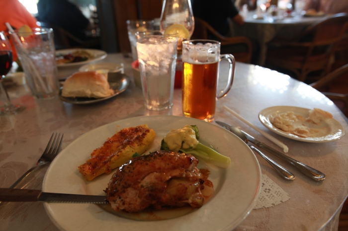 Vegetables, Beer and a succulent pork tenderloin at 1776 restaurant.