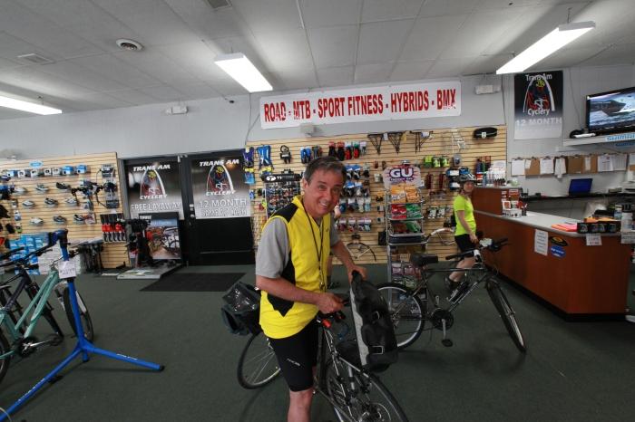 Quick repairs at the TransAm Bike Shop in Farmington, MO