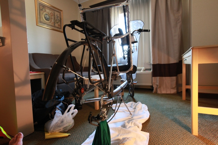 Is this a hotel room or bike shop?