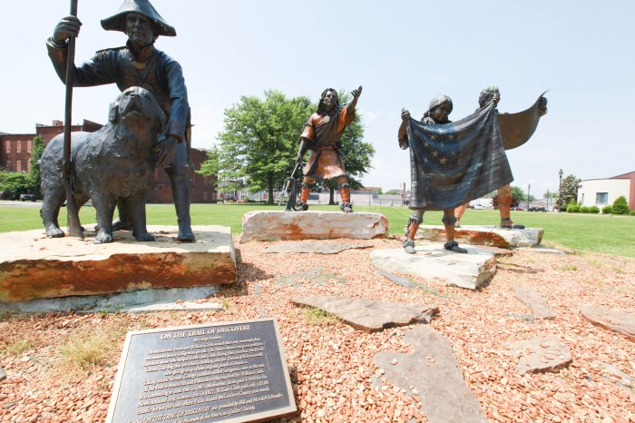 Lewis & Clark along with their guide.... and maybe that's Pollyanna -- in Paducah, Ky