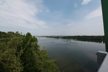 The old bridge and the Tennessee River. --East of Paducah, Ky