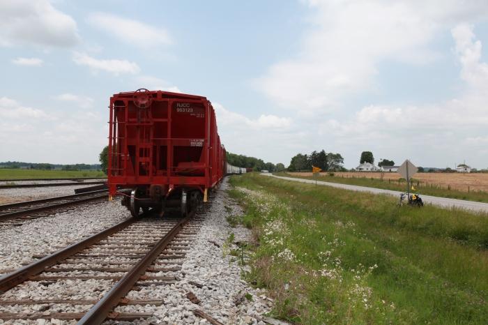 A stationary train just outside Auburn, KY