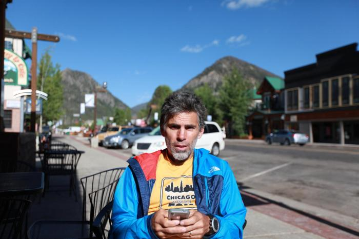Poor Chuck still has to work. But he does it in style at the Butterhorn Cafe in Frisco, Co