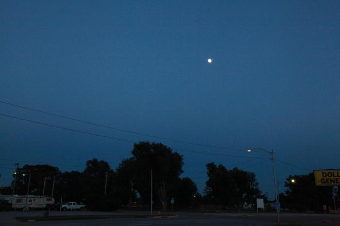 A calm clear night with a waxing moon. Ah... I'm sure a peaceful sleep is ahead... -- in Scott City, KS