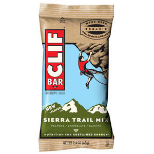 Sierra Trail Mix — Cliff bar. A much less sweeter than usual Cliff bar, the Sierra trail mix is clearly real food. Few ingredients. Like other good bars, it doesn't hold it's shape that well, which I've come to realize is a sign of real food masquerading as a bar rather than the other way around.