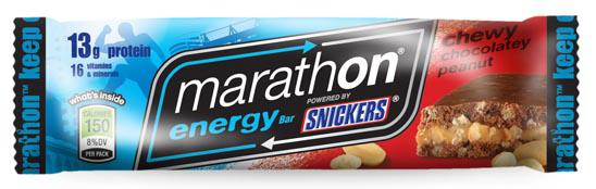 Marathon Bars (by Snickers) 5/10 Pros: Lots of protein. Taste Ok, but a little on the sweet side. Cons: Technology required to create them didn't exist 10 years ago. Lots of chemicals.