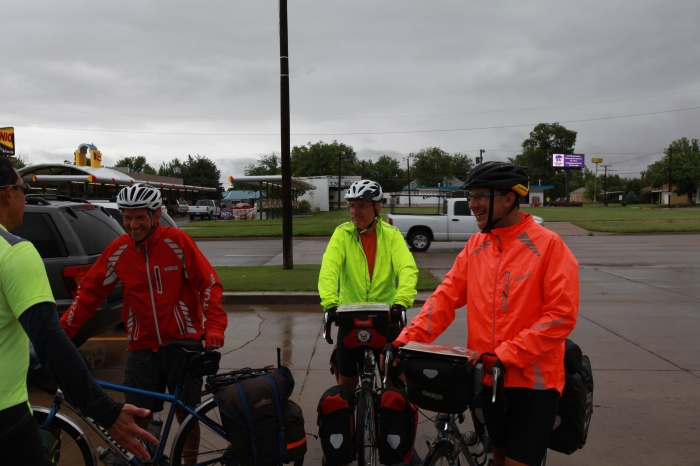 3 of our crew talk to one of the bike across Kansas guys.