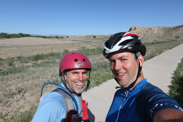 Chuck and I on the way out of Pueblo via the reservoir path take time for his trip starting selfie.