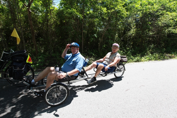 George and Rada from Springfield on a sweet tandem recumbent trike.