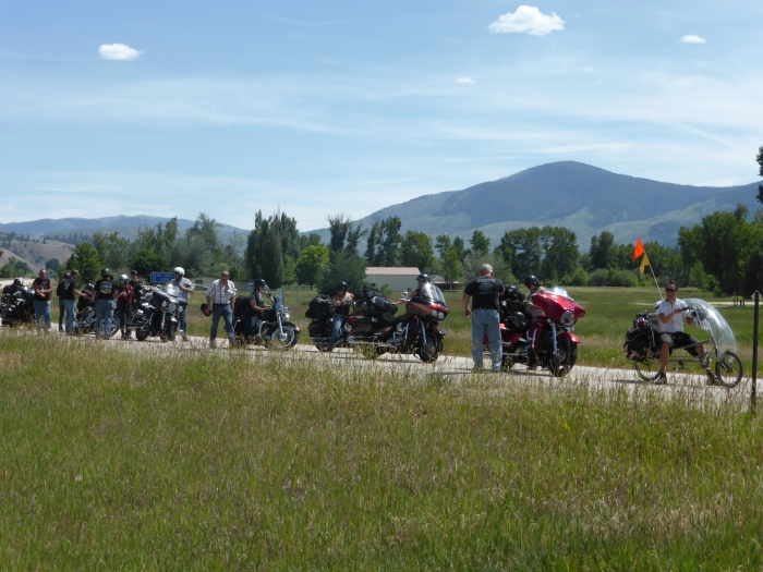 Mike leads a band of harleys into Hamilton, MT