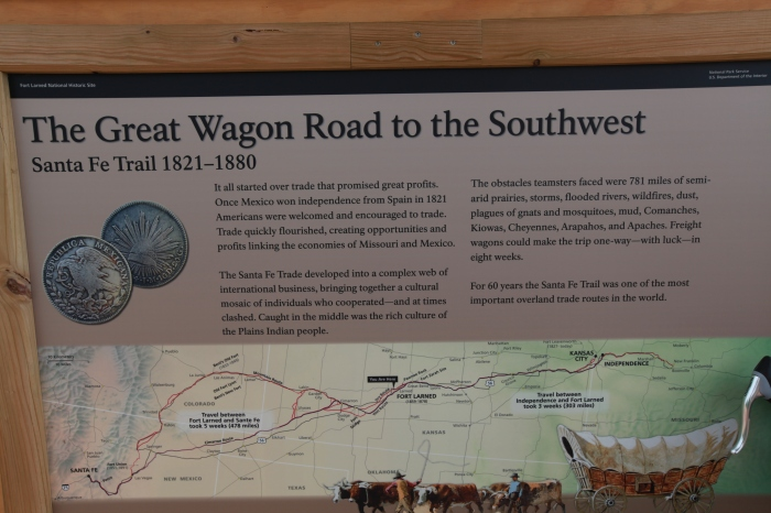 A National Park board detailing the history of the wagon road to the Southwest --at Fort Larned, KS