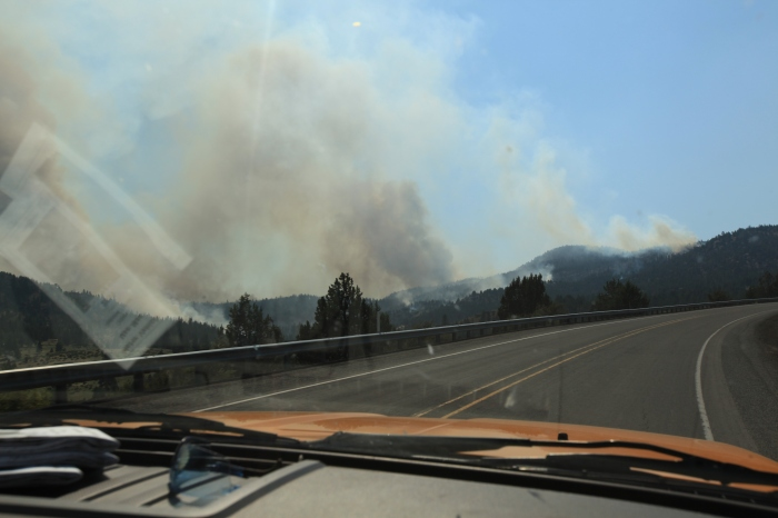 The smoke intensifies as I ride up towards the pass. --Ochoco Pass, OR.