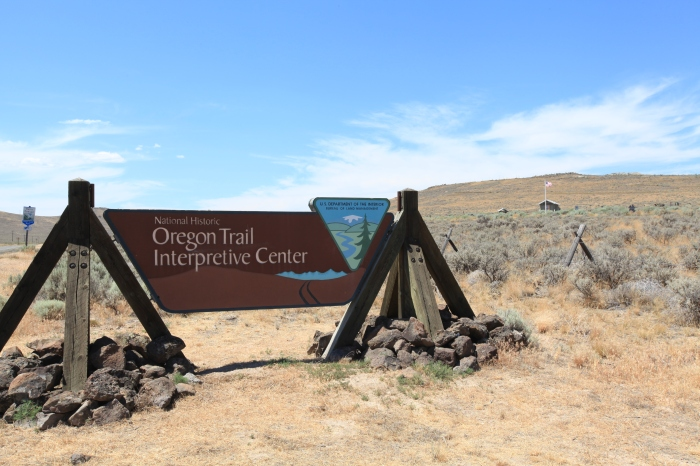 This is the sign for the interpretive center, which overlooks the highway from hundreds of feet above. No chance I'm cycling up that beast. --Baker City, OR