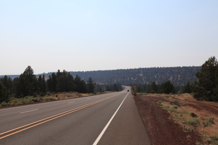 The poorly named Deep Canyon, OR. The hazy horizon is from all the smoke. As far as I can tell pretty much the whole state of Oregon is on fire.