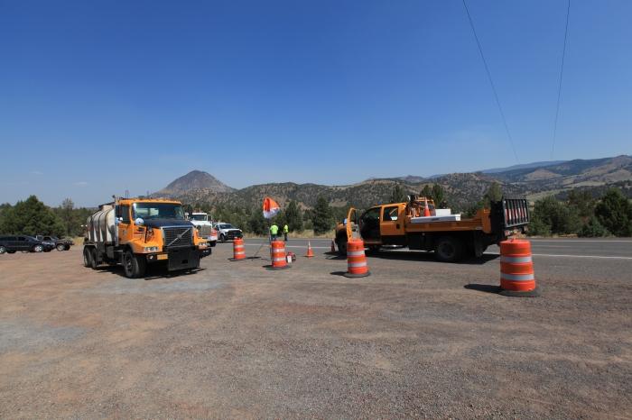 The roadblock approaching Ochoco Pass, OR.