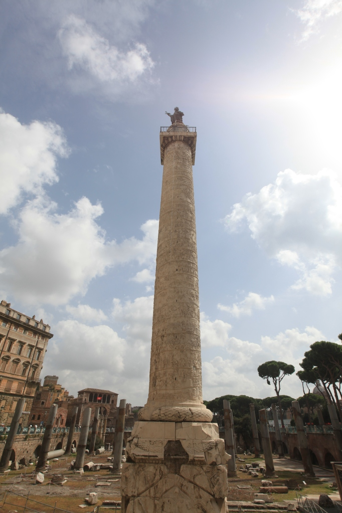Trajan's Column boasts a spiraled bas-relief history of Trajan's conquests.