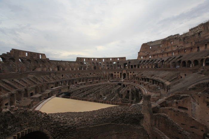 Inside the Colosseum. Part of the wooden floor is reconstructed.